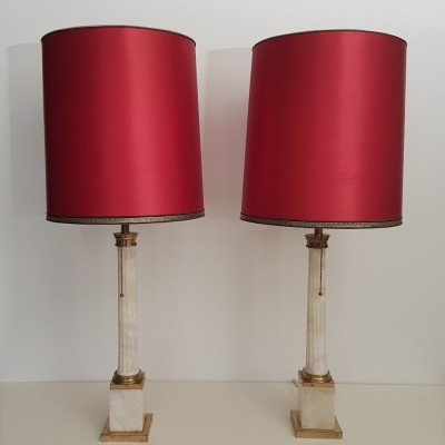 Pair of Neoclassical marble brass lights, 1950s