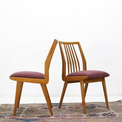 Pair of newly covered ash wood dining chairs, 1950s