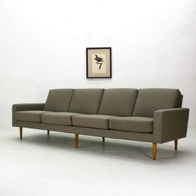 Reupholstered Mid-Century Four Seat Sofa, 1960s