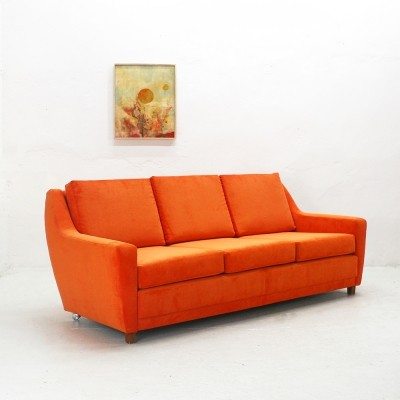 Reupholstered 70s Lounge Sofa in Bright Orange