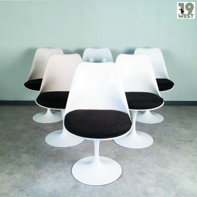 Set of 6 Pedestal Group Tulip dinner chairs by Eero Saarinen for Knoll International, 1960s