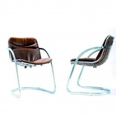 Pair of Willy Rizzo arm chairs, 1970s