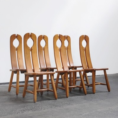 Set of 6 vintage dinner chairs, 1970s