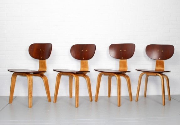 Set of 4 SB02 dinner chairs by Cees Braakman for Pastoe, 1950s