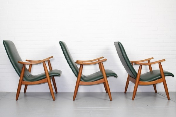 Set of 3 vintage lounge chairs, 1960s