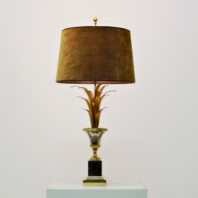 Gilded Palm leaves table lamp by Maison Charles, 1970s