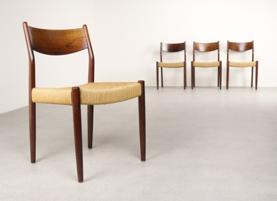 Set of 4 Paper cord dinner chairs by Fristho, 1960s