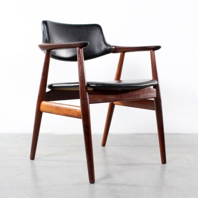 Rosewood Leather arm chair by Svend Aage Eriksen for Glostrup, 1960s