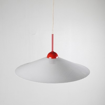 Aluminium pendant with perforated white shade, 1970s