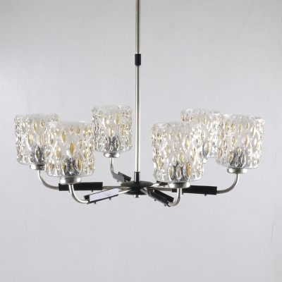 Mid-Century six-arm chandelier with textured tubular glass shades