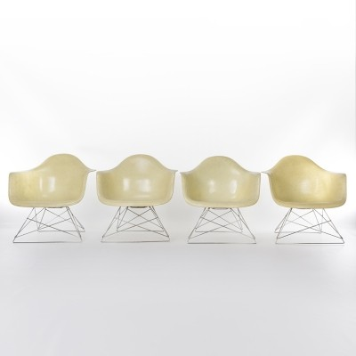 Vintage 1st Generation Zenith All Original Yellow Eames LAR Arm Shell Chairs