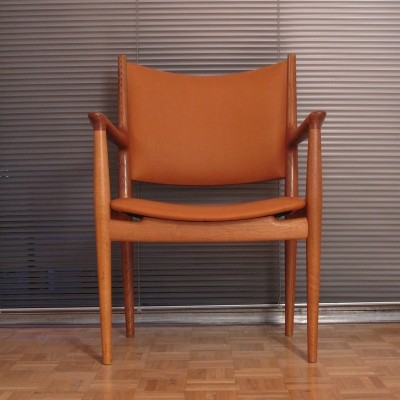 Hans Wegner JH-513 Oak & Leather Armchair For Johannes Hansen