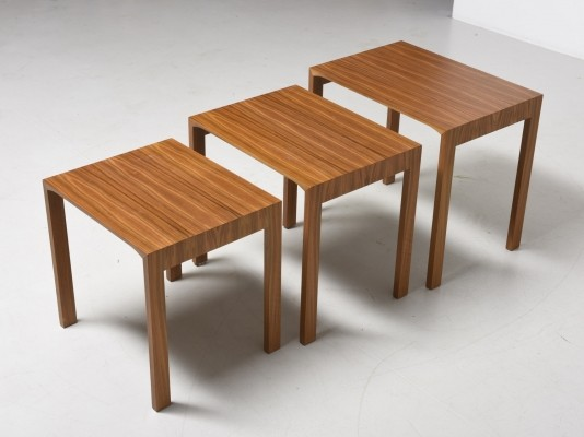 Nesting tables in walnut by Wilhelm Renz, 1960s