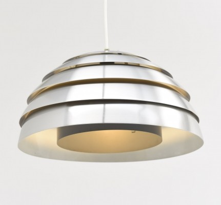 Pendant in aluminium with grey lacquered shade by Hans Agne Jakobsson