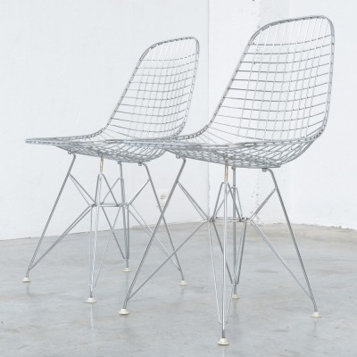 Pair of Chrome Wire Chairs by Charles & Ray Eames for Herman Miller