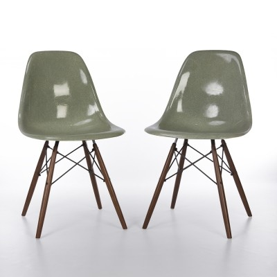 Original Zenith Seafoam Eames DSW Side Chairs for Herman Miller