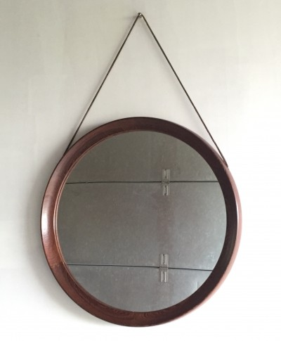 Round wengé mirror with leather cord by Uno & Östen Kristiansson, 1960s