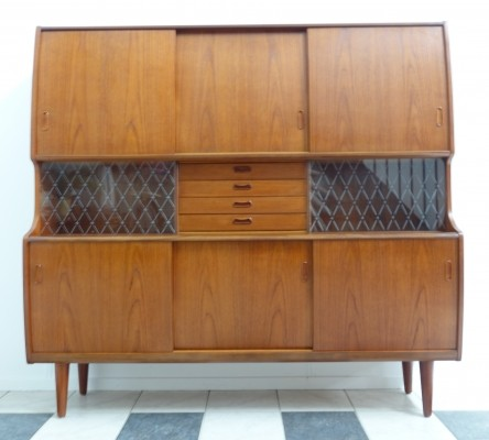 Danish Teak wall unit / highboard by Poul Jessen, 1960s