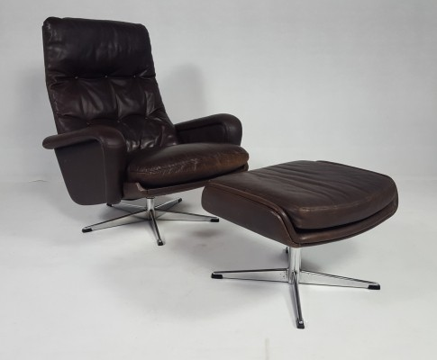 Leather Swivel Chair With Ottoman,1970s
