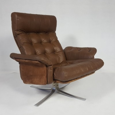 Vintage Danish Leather Swivel Lounge Chair by Ebbe Gehl & Søren Nissen