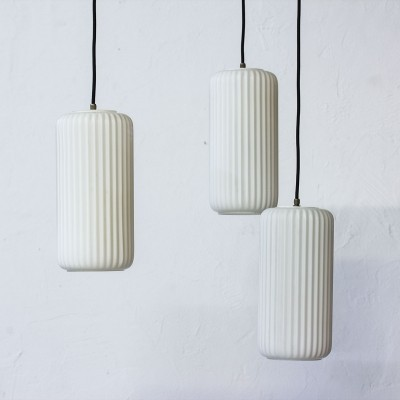 Set of 3 vintage hanging lamps, 1950s
