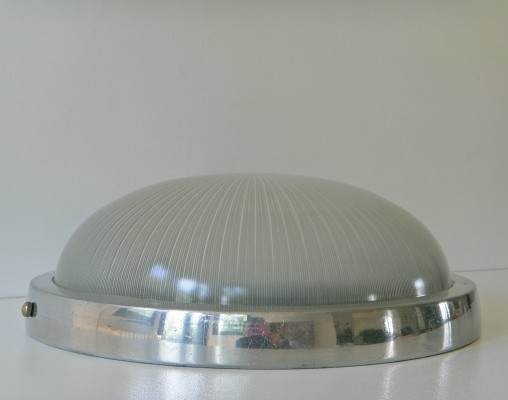 8 x retro wall or ceiling lamp in aluminum & Holophane glass, 1970s