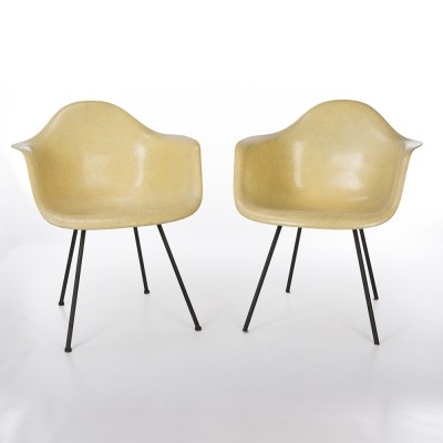 Original Pair 1st Generation Zenith Lemon Yellow Eames DAX Shell Chair