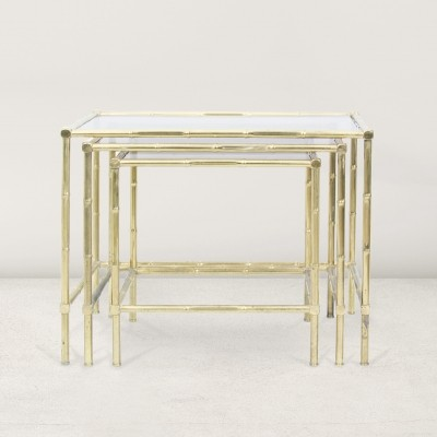 Set of 3 French nesting tables, 1950s