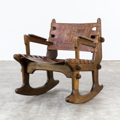 Rocking chair by Angel I. Pazmino for Muebles de Estilo, 1970s