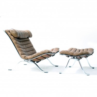 Rare Arne Norell Lounge chair with ottoman, 1960s