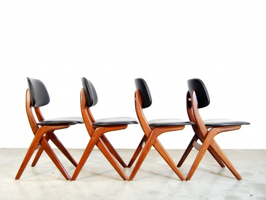 Set of 4 Scissor dinner chairs by Louis van Teeffelen for Wébé, 1960s