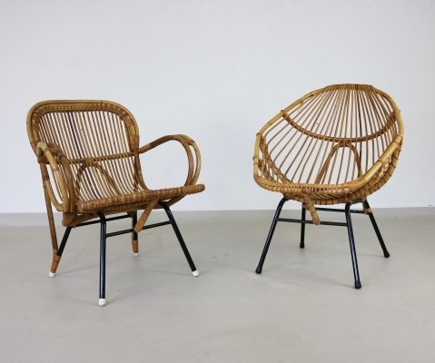 Pair of Rattan tub chairs by Rohe Noordwolde, 1960s