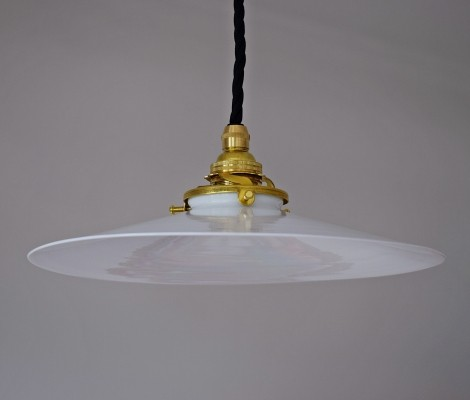 Pair of suspended ceiling lamps in opaline & brass, 1950s