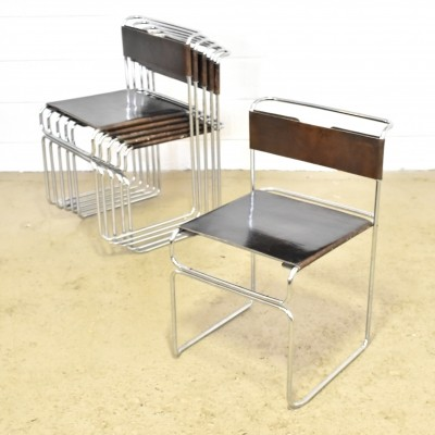 Set of 6 saddle leather with chrome steel stacking chairs