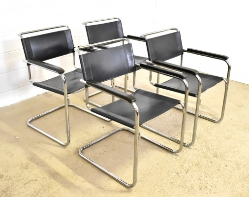 Set of 4 S34 dinner chairs by Mart Stam for Thonet, 1970s