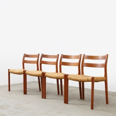 Set of 4 Model 84 dinner chairs by Niels Otto Møller for JL Møllers Møbelfabrik, 1970s