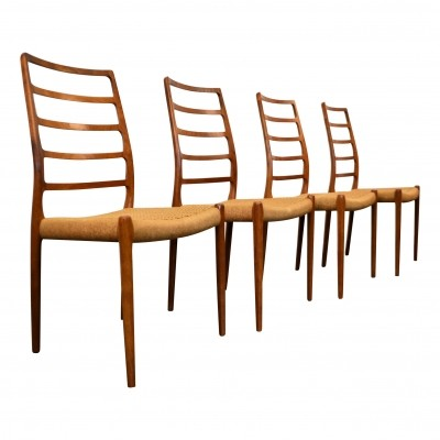 Set of 4 Model 82 dinner chairs by Niels O. Møller for J. T. Møller Møbelfabrik, 1960s