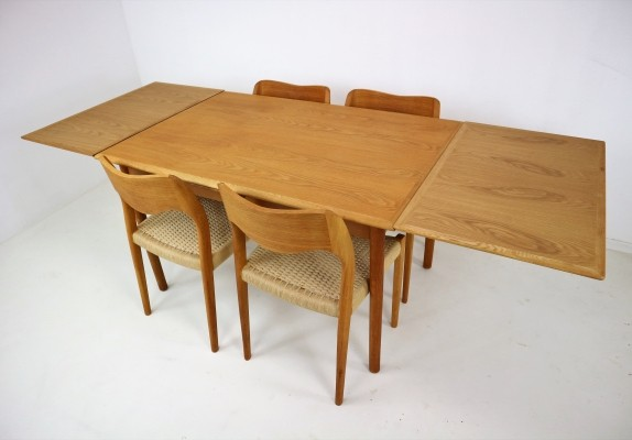 Niels Otto Møller Dining-Room, Set of Four Chairs & Extendable Table