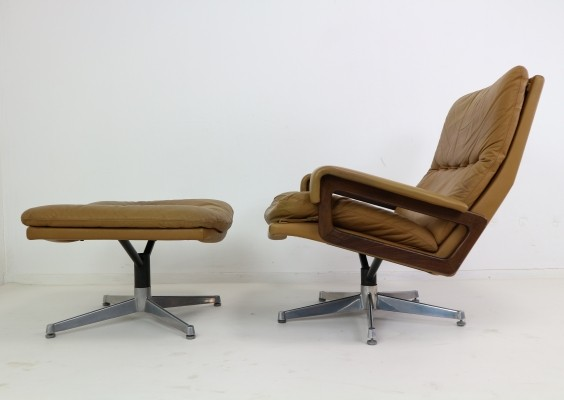 Strassle King Swivel Chair & Ottoman in Cognac Leather by Andre Vandenbeuck