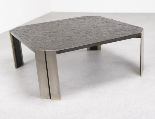 Fossil slate Brutalist coffee table from the 1960s