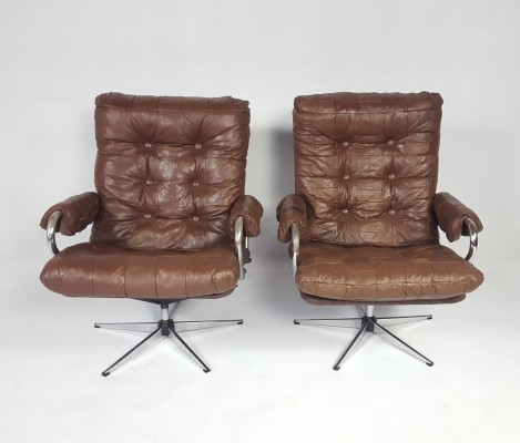 Pair of Vintage Leather Swivel Chairs, 1970s