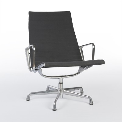 Original Herman Miller Grey Fabric Eames Aluminum Ribbed Lounge Chair