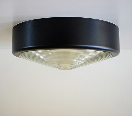 Ceiling lamp in painted steel & glass, 1970s