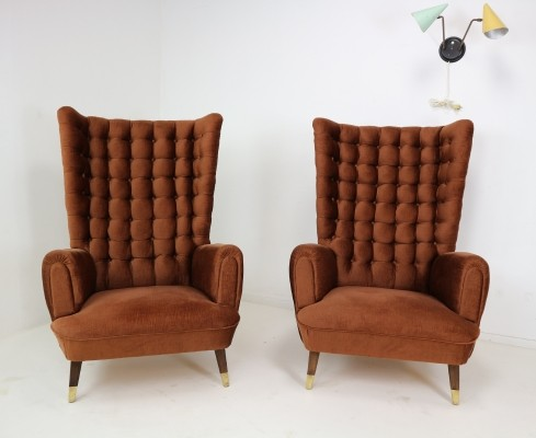 Set of two impressive high wingback armchairs, 1950s