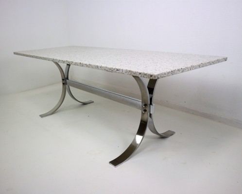 Granite top with X-shaped chrome base coffee table, 1970s
