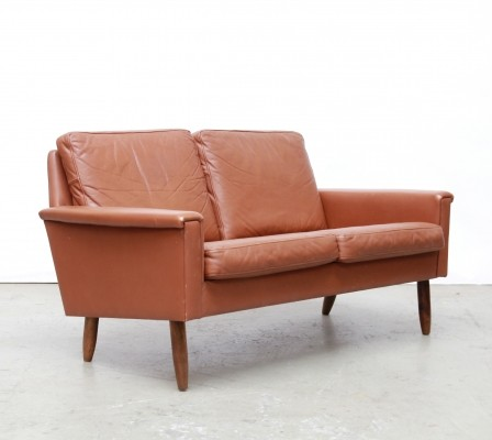 Brown Leather Danish sofa by Vejen Polstermøbelfabrik, 1960s