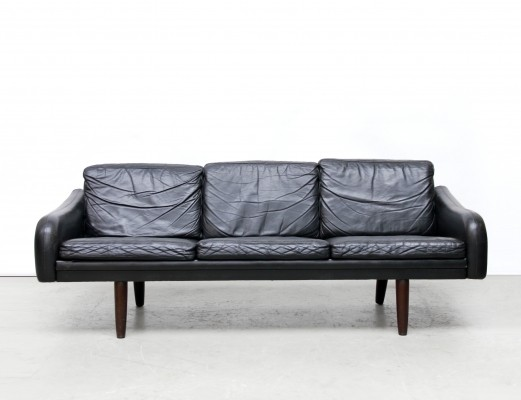 Black Leather danish design sofa, 1950s