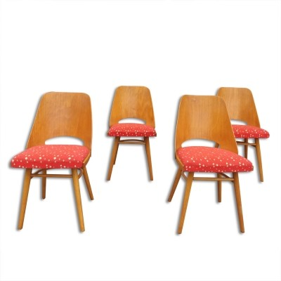 Set of 4 UP Závody dining chairs, 1960s