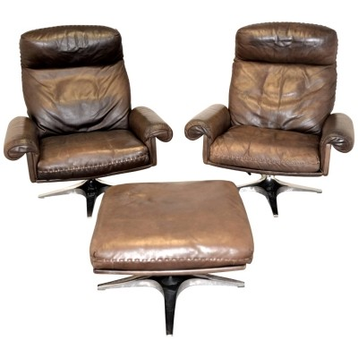 Pair of DS 31 Highback arm chairs by De Sede Design Team for De Sede, 1970s