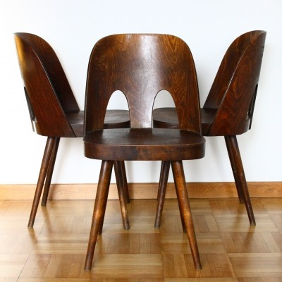 Set of 3 dinner chairs by Oswald Haerdtl for Ton Czechoslovakia, 1950s